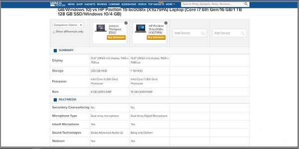 gadgets-now-lap-top-comparison-website-compare-two معرفی سایت های مقایسه آنلاین لپ تاپ