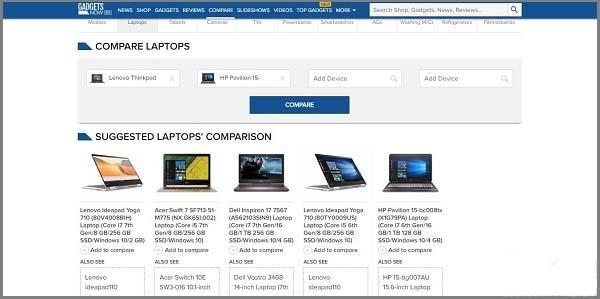 Gadgets Now معرفی سایت های مقایسه آنلاین لپ تاپ