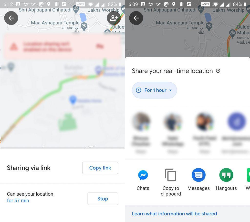 اشتراک گذاری لوکیشن با استفاده از  Google Maps